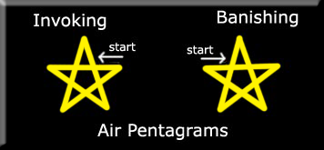 Invoking and banishing pentagrams of air